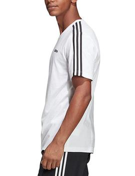 Camiseta Essentials 3 stripes tee - Blanco negro