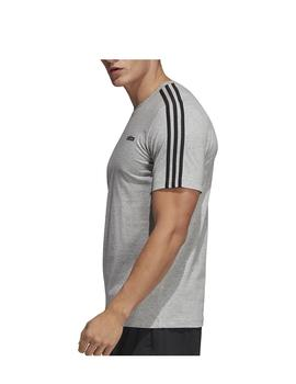 Camiseta Essentials 3 stripes tee - Gris negro