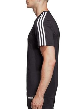 Camiseta Essentials 3 stripes tee - Negro blanco